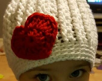 Children's Valentine's Day Hand Crocheted Messy Bun Hat