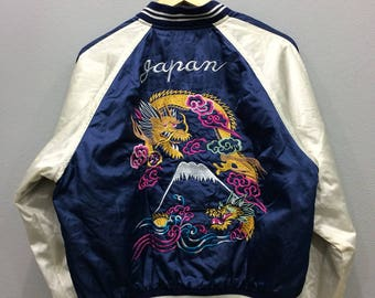 Vintage Sukajan Sauvenir Jacket Dragon Roar Embroidery Japanese Satin Jacket Medium Size
