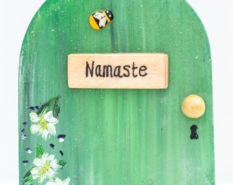 Fairy Door, Yoga Sign, Namaste Sign, Personalised Fairy Door, Positivity Sign, Handmade Fairy Door,  Tree Fairy Door, Outdoor Fairy Door