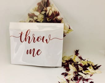 Flower petal confetti -  burgundy red with off white petals - biodegradable - calligraphy 'throw me' packet - vintage weddings