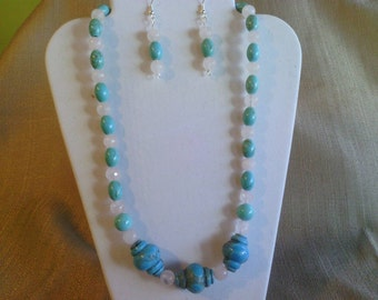 113 Unique Blue Turquoise Carved Round Barrel Shaped Beads with Magnesite Turquoise and Genuine Rose Quartz Beaded Necklace