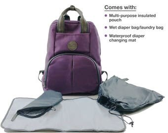 Ultimate Diaper Bag Backpack (Purple), Perfect Baby Shower Gift