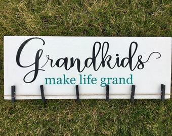 Grandkids Make Life Grand Wooden Sign/Black and Turquoise/Grandparents Gift/Photo Display/Grandma Gift/Grandpa Gift/Pregnancy Reveal