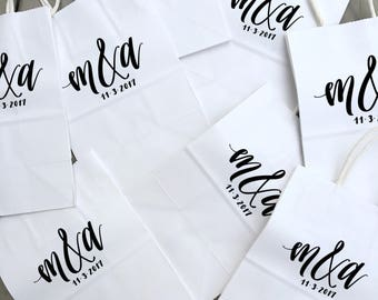 Small Personalized White Gift Bags, Handlettered