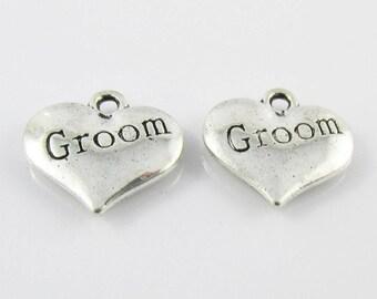 Bulk Groom Heart Charm Pendant Love Wedding 15x14mm Select Qty