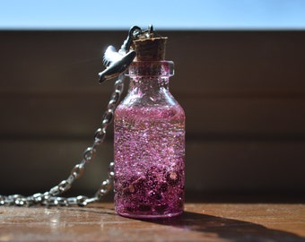 Magenta Glitter and Beads Bottle Necklace