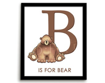 Woodland Alphabet Alphabet Print Alphabet Art ABC Print B is for ABC Art Bear Print Alphabet Nursery Letter Art Alphabet Letters Woodland