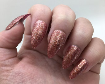 Rose Gold Liquid Sand Fake Nails | Press On | Glue On Nails | Different Shapes