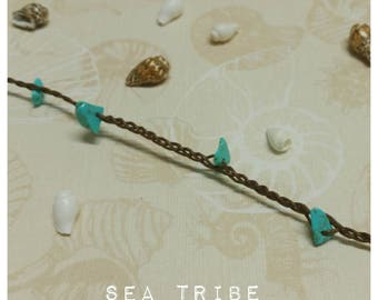 Anklet braided boho beach jewellery turquoise stone beads