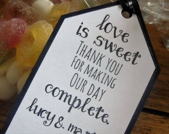 Love is sweet, thank you for making our day complete (name & name) Wedding date name tags, handmade x15