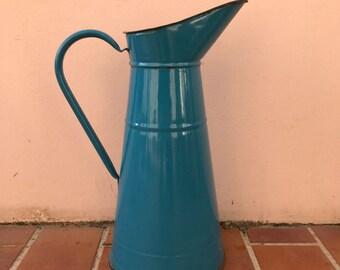 Vintage French Enamel pitcher jug water enameled dark blue 2703201716