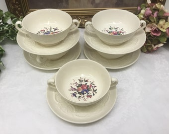 Wedgwood Swansea cream soup with under plate.
