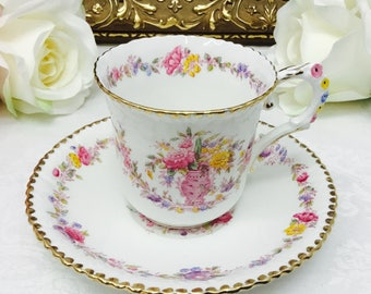 Royal Stafford flower handle teacup and saucer.