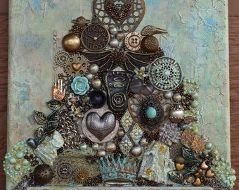 Canvas Heart Art - Assemblage Art - Tree of Hearts - Original - Salvage Canvas - Vintage - Found Objects - Steampunk Art - Mixed Media