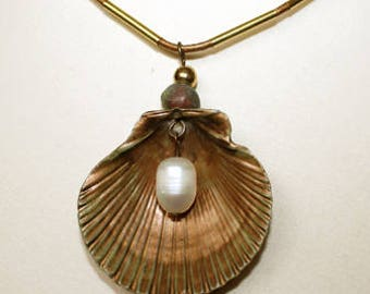 Sea shell and freshwater pearl pendant on real leather cord.- free shipping