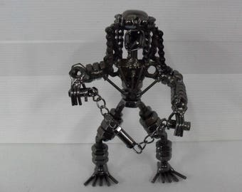 Samurai Statuette designed by hand with materials of recycling steel chrome H19 cm