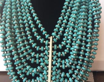 Multiple Strand Indian handcrafted Beaded Necklace - Turquoise
