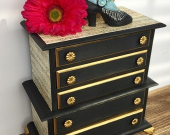 Vintage Highboy Style Jewelry Box, Hand Painted, Black, Gold, Sheet Music, Claw Feet, Gift for Her, Music Box