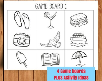 Toddler Travel Game - Colouring Page - I Spy - Bingo - Boat Cruise - Toddler Activity - Travel Board - Game Board - Instant Digital Download