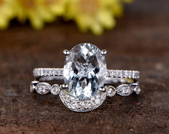 7x9mm oval cut VS natural Aquamarine engagement ring set, solid 14K white gold,Crown diamond wedding band,Marquise style,2pcs promise rings