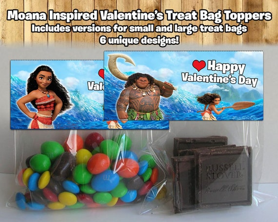 Disney Moana Printable Valentines Treat Bag Topper
