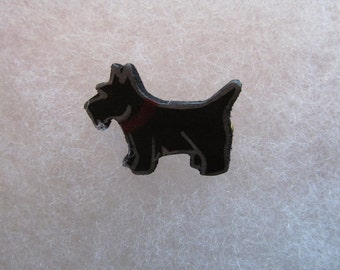 Scottie Dog (black) Jewelry Pin - handcarved and handpainted