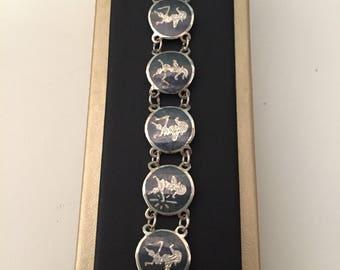 Sterling Siam bracelet vintage link bracelet signed ornate detailed design