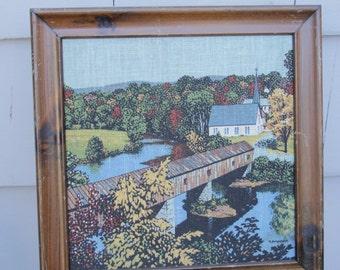 Covered Bridge   New England   Vintage Art   Gallery Wall   Kay Dee Handprints   Canvas Linen Art   White Chapel   Fall Foliage   Autumn
