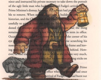 Hagrid Art Print, Harry Potter Book Page Art, Print on Book Page, Harry Potter Art