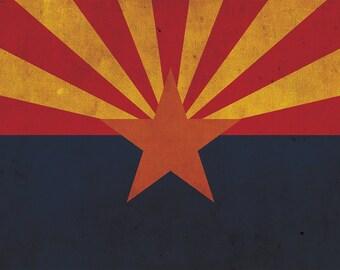 Vintage Arizona Flag on Canvas, Texas, Flag, Wall Art, Arizona Photo, Arizona Print, Fine Art, Grand canyon, Single or Multiple Panels