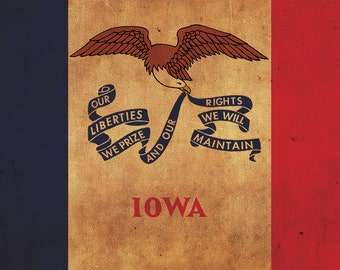 Vintage Iowa Flag on Canvas, Iowa Flag, Wall Art, Iowa Photo, Iowa flag on canvas, Flag, Single or Multiple Panels Iowa flag