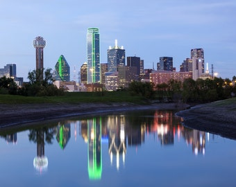 Dallas, TX canvas at dusk, Printed on Canvas, Dallas, Texas, City skyline, Large Dallas Print, Dallas Texas wall art, Canvas gifts, art