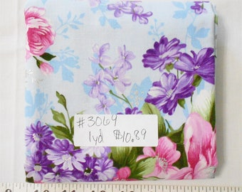 Fabric - 1yd piece-Large Floral/Silver Metallic/Pink/Purple/blue background Silhouettes by Fabri-Quilt (#3069) 112-25352