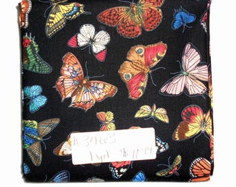 Fabric - 1yd piece-Butterflies on Black Background/blue/red/yellow/brown/peach/pink/swallowtail/moth (#3463) Elizabeth's Studio 4903E-BLK