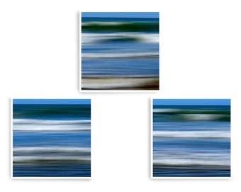 Ocean Wall Art, Coastal Decor, Abstract Sea Art, Blue Wall Prints, Set of 3 Prints, Tranquility Art, Square Art Prints, Wave Art Print