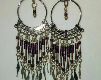 Eggplant Purple and Silver, Hand-Made, Chandelier Earrings --- DreamCatcher Earrings