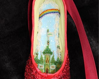 Decorated Pointe Shoe: The Wizard of Oz, Dorothy, Ruby Slipper, Emerald City,OOAK gift