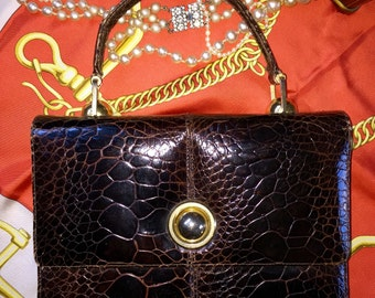 Rare bag Croco Jackie Kennedy Vintage 1960's