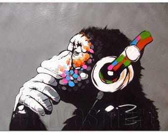 DJ Monkey Thinker With Headphones Banksy Oil Painting Underground Culture Canvas Print Giclée Gallery Wrap Free Shipping 40% OFF SALE