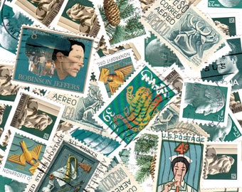 50 Dark Teal Vintage Postage Stamps
