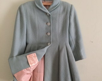 Vintage Baby Blue Girls Rothschild Wool Coat Size 4 - 5 Silver Pink Lining, Tailored, Retro