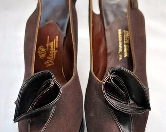 Beleganti Hand Made Women's Brown Suede Peek-A-Boo Toe Platform Shoes/1940s Beleganti Designer Shoes/Women's Leather & Suede Platform Heels