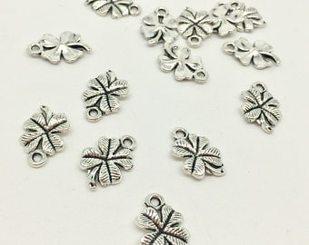 BULK 10 Four Leaf Clover Shamrock Charms Antique Silver Tone Lucky Good Luck Charms