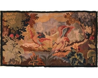 Gorgeous 19th Century Tapestry with Birds