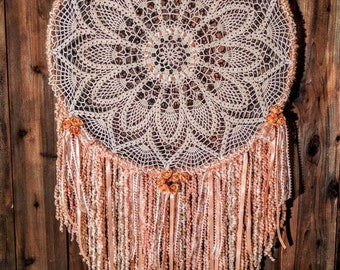 Sweet Georgia Peach Extra Large Dreamcatcher wall hanging - hand crocheted doily and soft peach streamers.