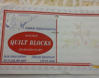6, vintage, quilt squares to be hand embroidered!