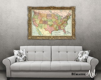 Us Map Poster Etsy - Us map canvas wall art