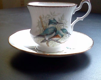 Royal Minster fine bone china England Kingfisher cup and saucer.  Kingfisher teacup with saucer.  Kingfisher pair china cup and saucer.