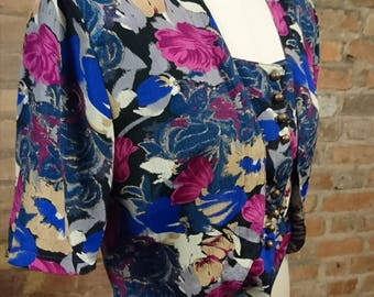80's crop top, cropped mock waistcoat top, cropped top, floral 80's cropped blouse