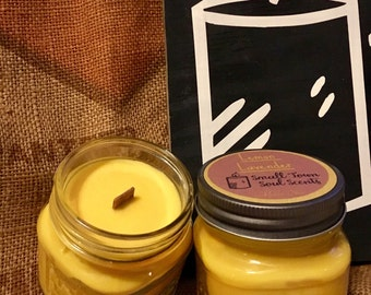 Lemon Lavender 8 ounce candle square mason jar